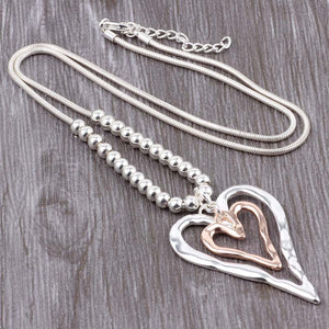 Long Chain Silver Necklace Double Long Heart Pendant Gold and Silver. Free Shipping!