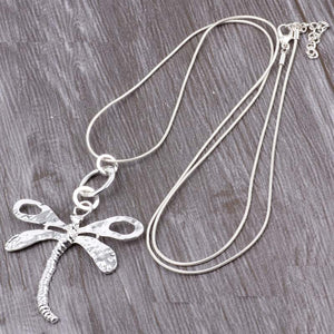 Long Chain Silver Necklace Dragonfly Pendant.Free Shipping!
