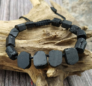 Natural Gemstones Black Tourmaline Stone Beads Cord Knotted Adjustable Bracelet
