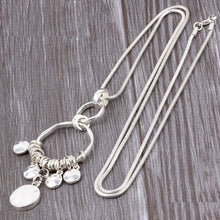 Load image into Gallery viewer, Boho Long Snake Chain Silver Necklace Multi Level Rounds Pendant Gold and Silver. Free Shipping!