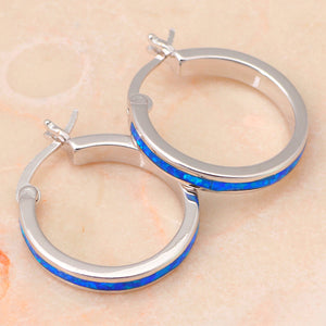 Blue fire Opal Hoop Earrings Silver Stamped *Fine Jewelry*