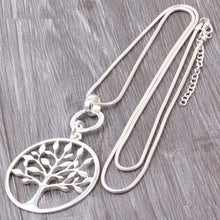 Load image into Gallery viewer, Long Chain Silver Necklace & Tree of Life Pendant. Free Shipping