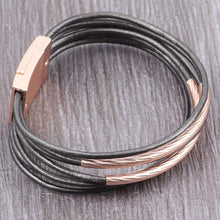 Load image into Gallery viewer, Leather Bracelet bohemian Bronze Metal Magnet Clasp