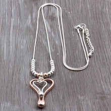 Load image into Gallery viewer, New Long Chain Silver Necklace & Double Color Heart Pendant. Free Shipping