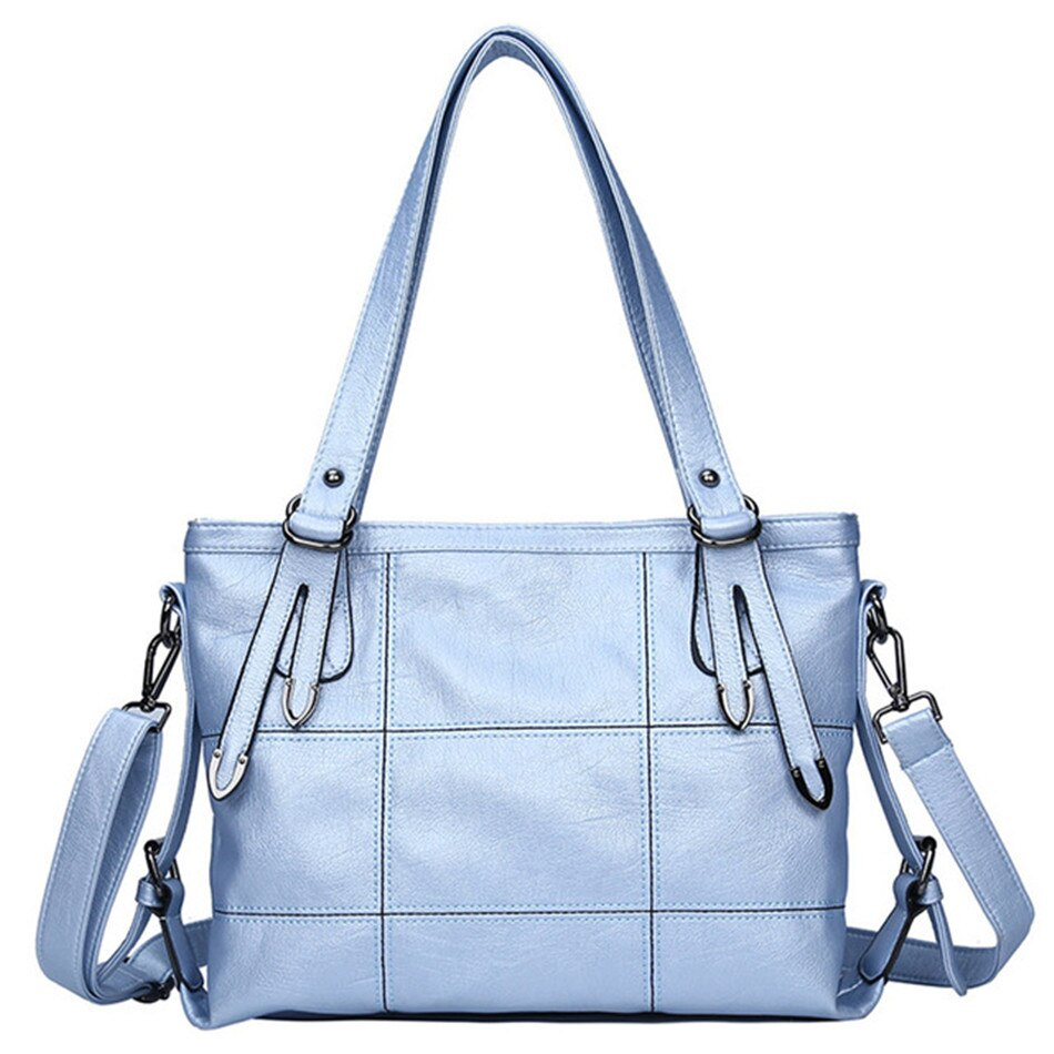 Luxury Leather Handbag Designer Light Blue Women Purse Shoulder Bags