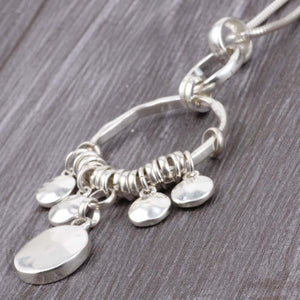 Boho Long Snake Chain Silver Necklace Multi Level Rounds Pendant Gold and Silver. Free Shipping!