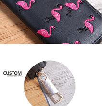 Load image into Gallery viewer, Long Wallet Pink Flamingo Embroidery Black, Silver or Burgundy