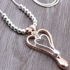 New Long Chain Silver Necklace & Double Color Heart Pendant. Free Shipping