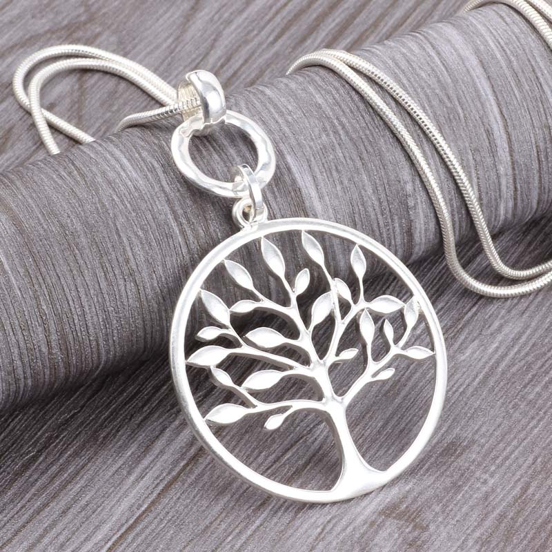 Long Chain Silver Necklace & Tree of Life Pendant. Free Shipping