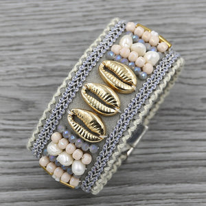 Wide Leather Bracelet Shells Crystal Beads & Pearls. Metal Magnet Clasp