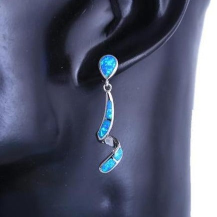 Curved Shape Blue fire opal Dangle Earrings Silver Stamped *Fine Jewelry*
