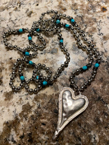 Bohemian Tribal Jewelry Metal Beads / Turquoise Heart Pendant Necklace