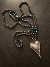 Load image into Gallery viewer, Bohemian Tribal Jewelry Metal Beads / Turquoise Heart Pendant Necklace