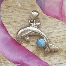 Load image into Gallery viewer, Jewelry Dolfin Larimar Caribbean Gemstone Pendant 925 Solid Sterling Silver