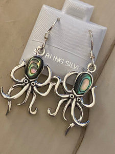 Octopus Earrings with Abalone Shell. 925 Sterling Silver' FREE SHIPPING