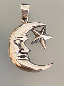 Moon & Star Pendant 925 Sterling Silver Jewelry. Free Silver Plated Chain. Free Shipping!