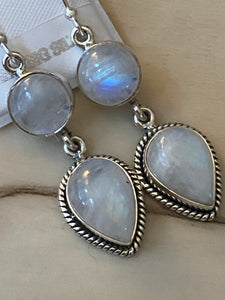 White Natural Real Stone Moonstone Earrings Handcrafted 925 Sterling Silver