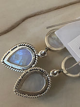 Load image into Gallery viewer, White Natural Real Stone Moonstone Earrings Handcrafted 925 Sterling Silver