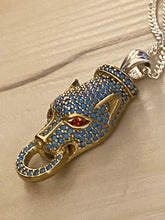 Load image into Gallery viewer, Pave Technique Turquoise Panther Pendant Ruby Eyes Gold & Sterling Silver