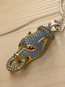 Pave Technique Turquoise Panther Pendant Ruby Eyes Gold & Sterling Silver