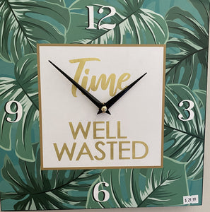 "Square Painted Wood Clock ""Time Well Wasted"" leafs Free shipping"