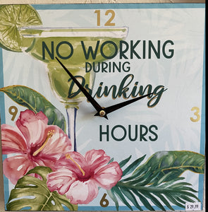 "Square Painted Wood Clock ""No Working during Drinking"" Flowers' Free shipping"