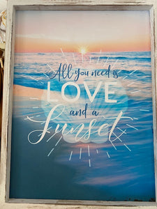"HOME DECOR 'All you need is Love and a Sunset"" Canvas Wall Sign. Free Shipping !!*.*!!"