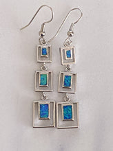 Load image into Gallery viewer, Blue Fire Opal Dangle Square Earrings 925 Sterling Silver *Fine Jewelry*