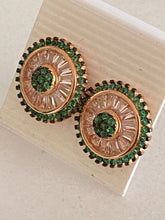 Load image into Gallery viewer, Emeralds & White Topaz Round Studs Earrings Rose Gold *Fine Jewelry*
