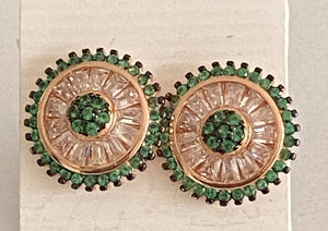 Emeralds & White Topaz Round Studs Earrings Rose Gold *Fine Jewelry*