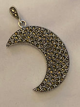 Load image into Gallery viewer, Half a Moon Marcasite Pendant Solid Sterling Silver Vintage