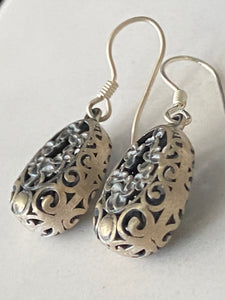 Sterling Silver Dangle Earrings Oval Filigree Flower Design Bali