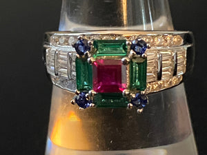 Ruby & Emerald & Sapphire & White Topaz Solid 925 Sterling Silver Ring Size 6 7 8 9