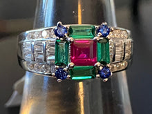 Load image into Gallery viewer, Ruby & Emerald & Sapphire & White Topaz Solid 925 Sterling Silver Ring Size 6 7 8 9