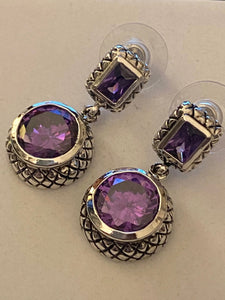 Gemstone Earrings Amethyst Natural  Stones & 925 Sterling Silver Fine Jewelry