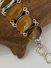 "Load image into Gallery viewer, Precious Stone "" Tiger Eye "" Handcrafted Bracelet India 925 Sterling Silver"