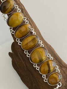 "Precious Stone "" Tiger Eye "" Handcrafted Bracelet India 925 Sterling Silver"