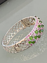 Load image into Gallery viewer, Bangle Bracelet AAA Green Chrome Diopside & Ruby Precious Gemstones 925 Sterling Silver