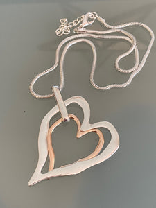 Long Chain Silver Necklace Double Heart Pendant Gold and Silver. Free Shipping!