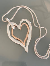Load image into Gallery viewer, Long Chain Silver Necklace Double Heart Pendant Gold and Silver. Free Shipping!
