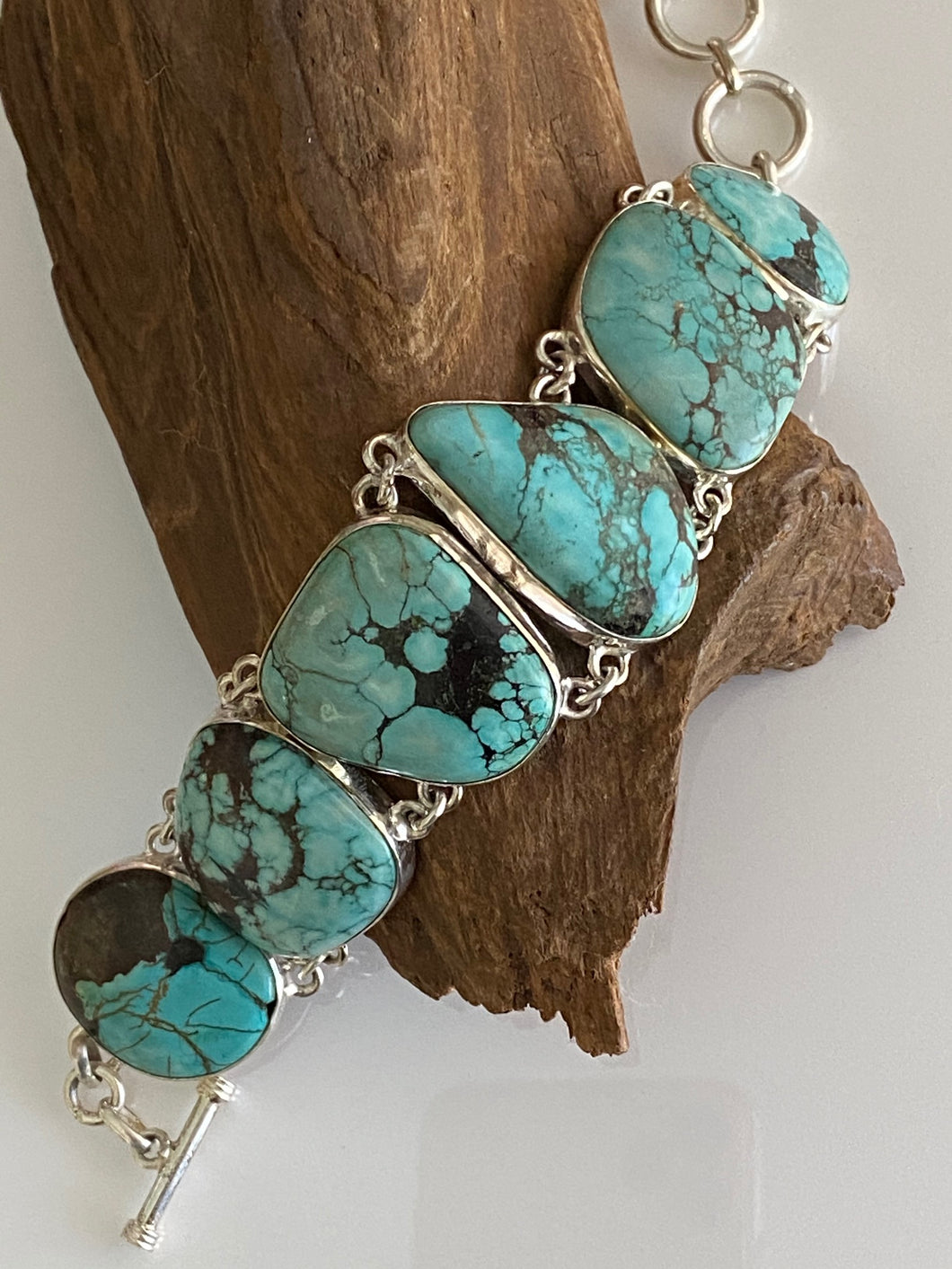 One of the KInd Turquoise Bracelet  Handcrfted in India 925 Sterling Silver