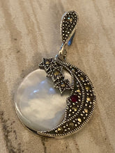 Load image into Gallery viewer, Moon and the Stars Marcasite Pendant mini Garnet Dot/Mother of Pearl Silver