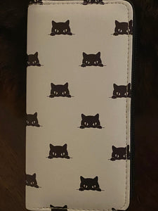 Long Wallet Multi Black Cats on White