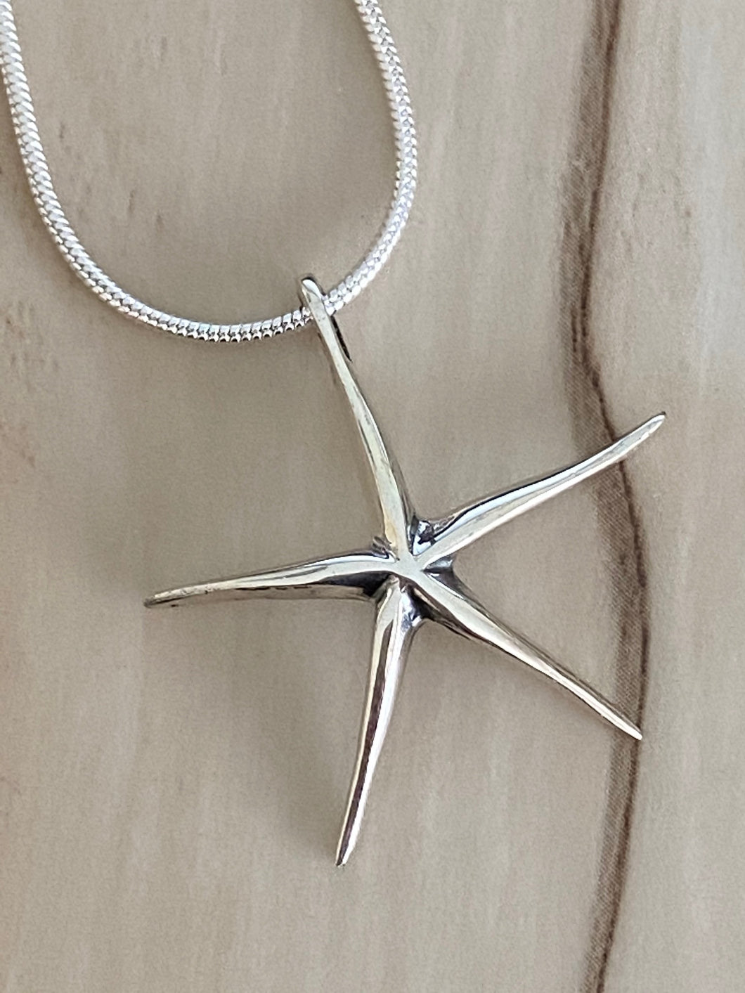 Starfish Pendant 925 Sterling Silver Jewelry. Free Silver Plated Chain. Free Shipping!