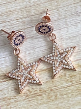 Load image into Gallery viewer, Stars Dangle Earrings  White Topaz and Sapphire Rose Gold over Sterling Silver