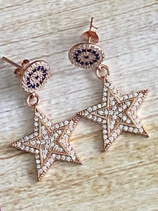 Stars Dangle Earrings  White Topaz and Sapphire Rose Gold over Sterling Silver