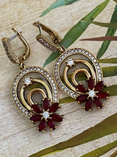Load image into Gallery viewer, Flower Ruby White Topaz .925 Sterling Silver & Bronze Earrings