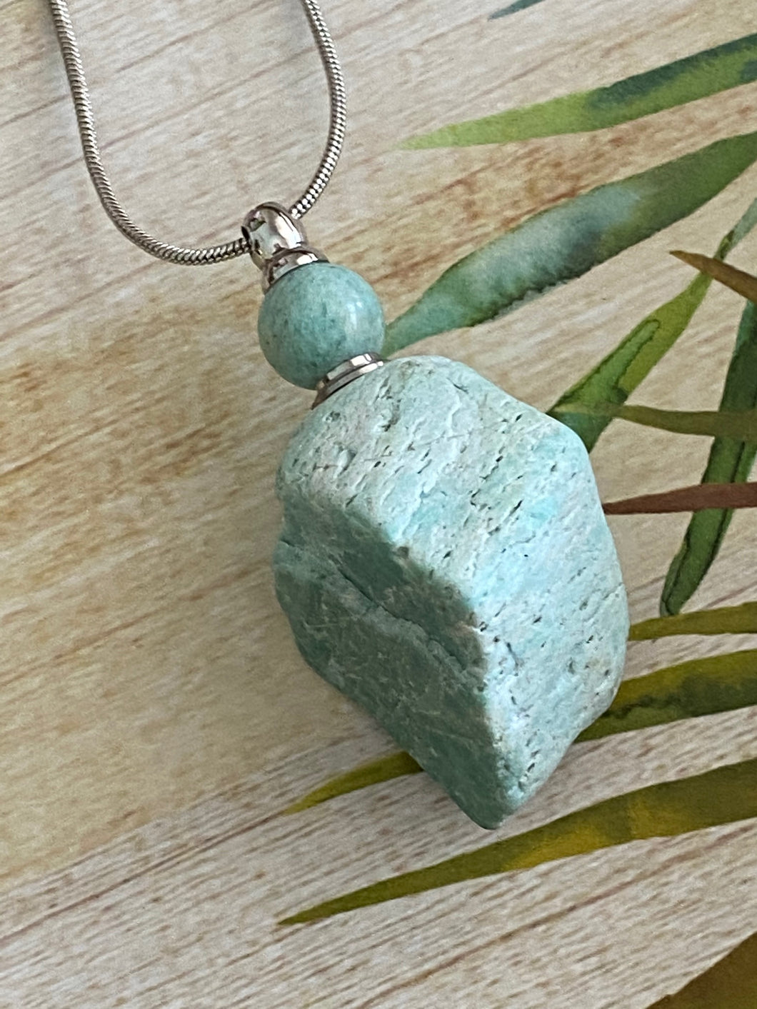 Raw Rough Perfume or Ashes Bottle Pendant Necklace, Handmade Natural Amazonite