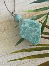 Load image into Gallery viewer, Raw Rough Perfume or Ashes Bottle Pendant Necklace, Handmade Natural Amazonite