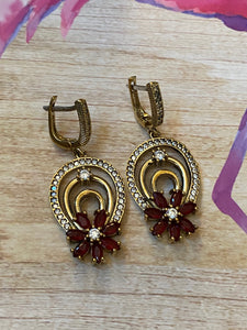 Flower Ruby White Topaz .925 Sterling Silver & Bronze Earrings